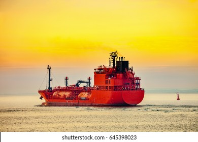 Seascape - LPG Tanker ship at sunrise.
