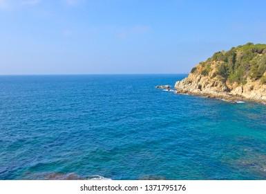 Seascape with Mediterranean sea  in Lloret de Mar, Catalonia, Spain