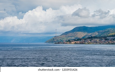 Seascape in the Messina strait with Villa San Giovanni. Calabria, southern Italy.