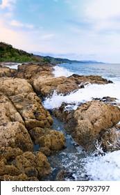 Seascape, Montezuma, on the pacific coast of Costa Rica, Central America.