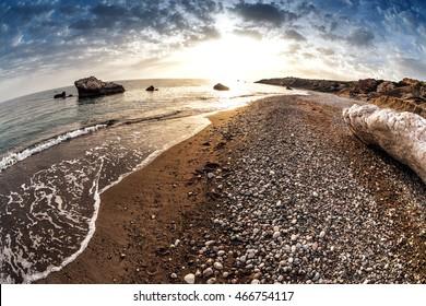 Seascape near Petra tou Romiou, also known as Aphrodite's Rock. Paphos District, Cyprus.