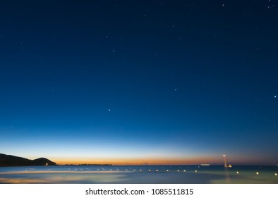 Seascape at night of sardinian coast of Villasimius a few minutes before dawn