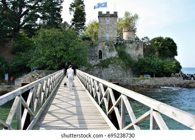 seascape in the North, Wooden walkway above the sea in the town of Oleiros in Acoruña, Galicia, Spain, tourism, tourist, travel agencies, tourist destination, quality of life, island,castle,