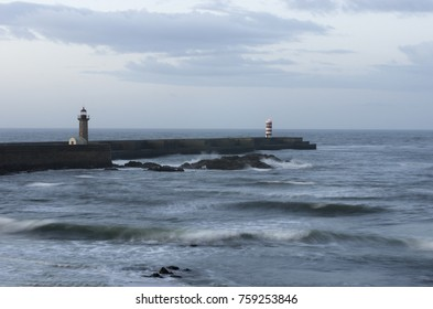 Seascape with ocean and lighthouse in Porto