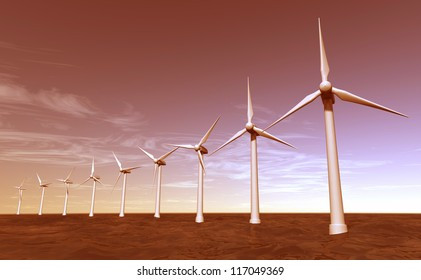Seascape of offshore wind turbines during sunset