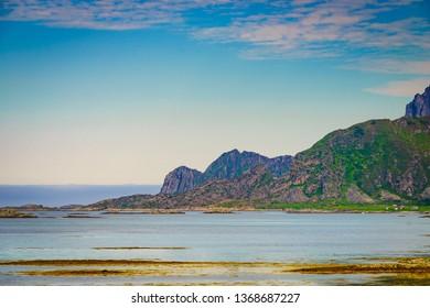 Seascape on Andoya island. Scenic rocky coastline near Nordmela village, Vesteralen archipelago, Nordland county Norway.