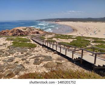 Seascape overview of Bordeira beach, Costa Vicentina, Portugal.