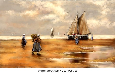 Seascape, painting,  fishermen, boat. Fine art.
