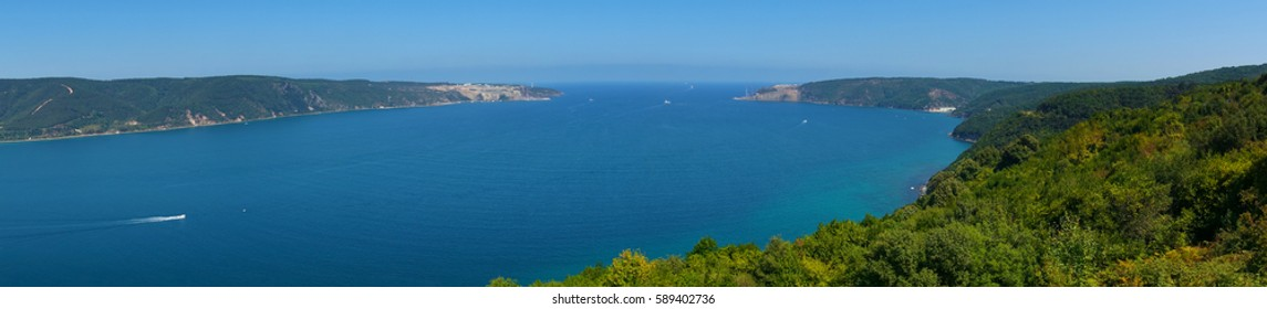 Seascape panorama of entrance to Black Sea. Nature panoramic background
