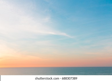 Seascape with pastel color sky, Concept of calm or relaxation