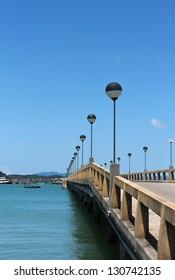 Seascape at Phuket with a long bridge