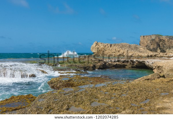 seascape of punta las tunas at cueva del indio along puerto rico's north coast