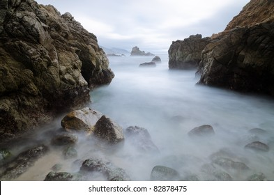 Seascape with rocks at Big Sur