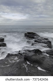 Seascape of the rocks at Craster Northumberland