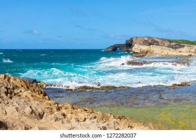 seascape of rocky atlantic coast near cueva del indio in northern puerto rico