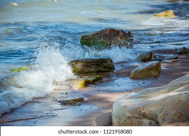 Seascape with rocky beach and crashing waves. Baltic sea. The Gulf of Finland, Estonia.