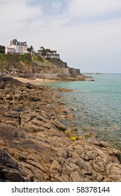 A seascape of the rocky coastline along Dinard in Northern France