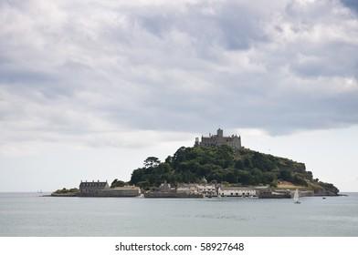 Seascape with Saint Michael's Mount in Marazion, Cornwall, UK