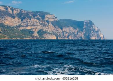 The seascape. The sea and the mountains on the coastline
