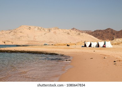 Seascape. Sea sky mountains camp tents in national nature reserve Ras Mohammed, Sinai, Egypt