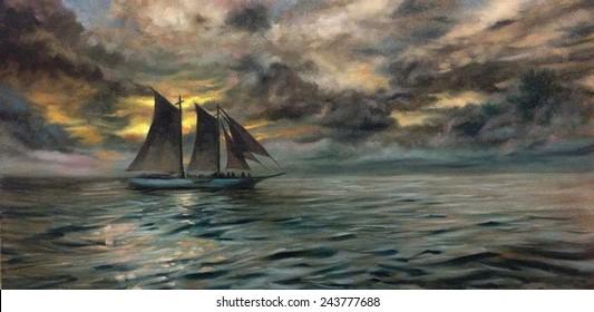 Seascape ship oil painting