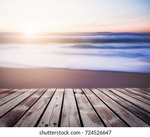 Seascape summer background of ocean beach sunset in bright color