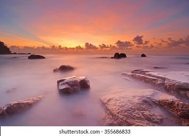 Seascape sunrise at Teluk Cempedak Beach, Kuantan Malaysia