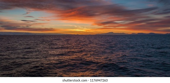 Seascape at Sunset. The Drake Passage near Antarctica. This is the body of water between South America and Antarctica.