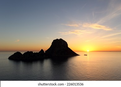 Seascape of sunset on Es Vedra in Ibiza island Baleares Spain