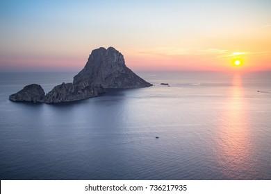 Seascape of sunset on Es Vedra island, Ibiza, Baleares, Spain