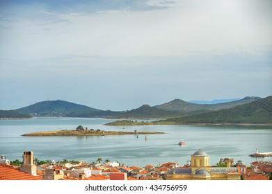 Seascape of touristic town, Cunda Alibey Island, Ayvalik. It is a small island in the northwestern Aegean Sea, off the coast of Ayvalik in Balikesir Turkey.