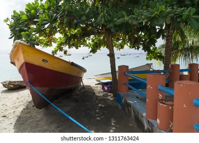 Seascape of a traditional red & yellow yole fisherman small boat, in the sand under a tropical green tree, with blue sea & sky, in Caribbean beach of Sainte Luce, Martinique, Antilles, West Indies.