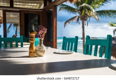 Seascape tropical beach restaurant, shallow focus