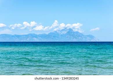 Seascape with view of  Holy Mount Athos  from Sithonia peninsula. Chalkidiki, Greece.