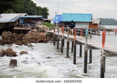 Seascape view of Jedi Ban Hua Leam wooden bridge at Chanthaburi , Thailand