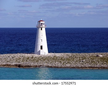 The seascape view with the lighthouse on Paradise Island, The Bahamas.