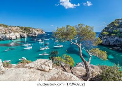 Seascape view of the most beautiful bay Cala Macarella of the island Menorca, Balearic islands, Spain