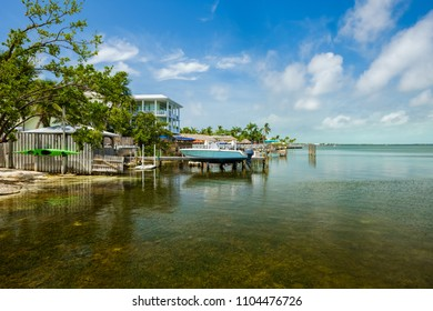 Seascape view of the popular Florida Keys along a small dock.