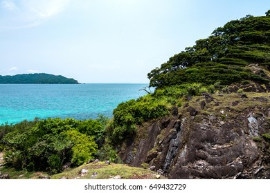 Seascape view from the top of hill in Lord heaven island located in Myanmar sea
