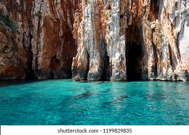 Seascape view to turquoise waters of Adriatic Sea in Island Hvar Croatia, blue caves. Famous travel sailing destination in Croatia, Island Hvar summer scenery in Europe.