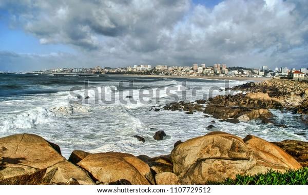 Seascape view in Vila Nova de Gaia, Portugal