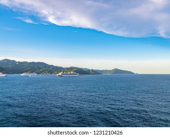 Seascape watching from a passenger boat anchored in Kumano Nada, Kumano City, Mie Prefecture, Japan.