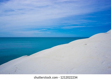 Seascape with white honed rock