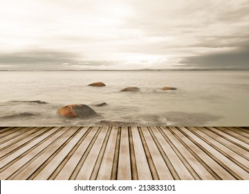 SeaScape with wooden stage.