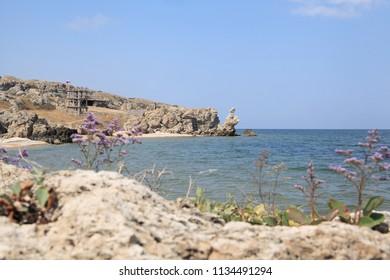Seascape, yellow rocks on the sandy coast.