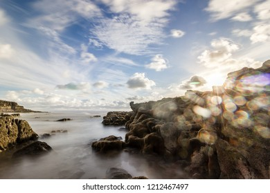 Seascapes of Pothcawl Seafront with sunflare