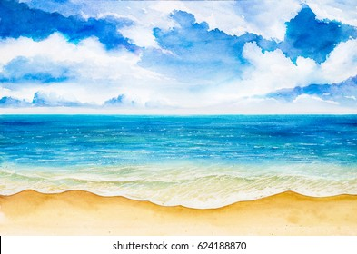 Seascapes. Watercolor illustrations.