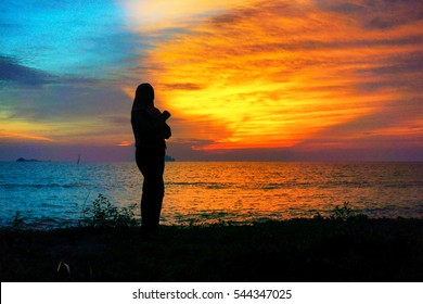 Seascape+sunset+silhoutte