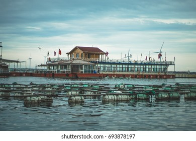 Seashell farm in China / Rongcheng / House on the water / in the ocean