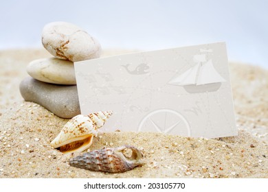 Seashells with blank card